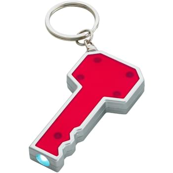 Key Shape LED Key Chain - Push Button To Turn On Light | Button Cell Batteries Included