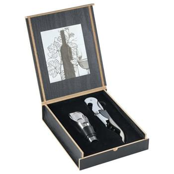 Belgio 2 Piece Wine Opener and Pourer Ensemble - Two piece set includes stainless steel waiter corkscrew and a bottle pourer/stopper combination presented in a contemporary, retail-inspired wooden storage box.