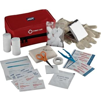 "StaySafe Travel First Aid Kit - Stay Safe with this 42-piece kit.  Multiple pockets and convenient hang loop. Includes zipped nylon case, Mylar blanket, scissors, tweezers, two latex gloves, two elastic bandages, two surgical pads, one triangular bandage, ten 3"" bandages, four iodine prep pads, four alcohol prep pads, two antiseptic wipes, one roll tape, and ten cotton balls. Velcro tab on back of case for easy attachment to fixed objects."