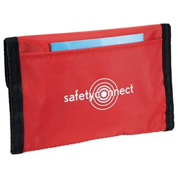 StaySafe First Aid Kit - Stay safe with this 50-piece kit.  Includes case, four alcohol pads, glove, ten safety pins, four knuckle adhesive bandages, four butterfly bandages, one 5cm X 5cm wound pad, one cotton tip, one gauze bandage, ten 1.9cm X 7.2cm adhesive bandages, ten 1cm X 4cm adhesive bandages, one PBT bandage, one gauze pad and plastic tweezers.