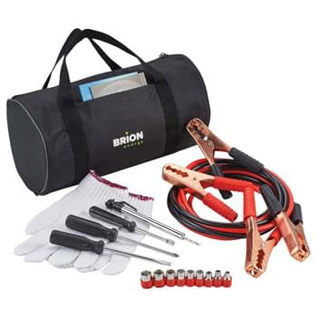 Highway Emergency Set - Emergencies can happen when they are least expected.  Be prepared with this 7-piece highway emergency set.  This set includes slotted and Phillips screwdrivers, one pair of gloves, jumper cables, socket set, socket driver and tire gauge, all packaged in a convenient duffel bag.  The duffel bag has two strips of velco on the bottom on the bag, for easy attachment to the carpet in the truck of a car, to help keep the bag stationary during driving conditions.
