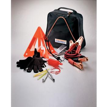 Highway Companion Gift Set - Provide safety and peace-of-mind when on the road. This 12-piece set includes 300-amp jumper cables, warning triangle, gas siphon, Mylar blanket for staying warm, two bungee cords, two glow sticks, a pair of gloves with rubber grips, flashlight (two AAA batteries included), 50 PSI tire gauge, and carrying case with organizational pockets for securing the contents.