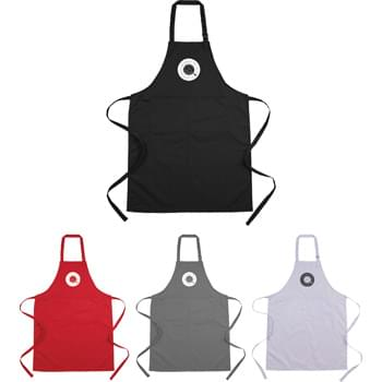Adjustable Full Length Apron with Pockets - This adjustable apron provides full length coverage while in the kitchen. The easily adjustable neck strap enables a comfortable fit while the 90% polyester and 10% cotton blend provide a soft easy to care for fabric. The apron also provides ample storage with a large front pocket and a loop for utensils.