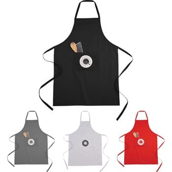 100% Cotton Full Length Apron - This 100% cotton apron provides full length coverage while in the kitchen. It features a large front pocket for storage.