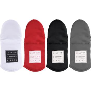 Silicone Grip Cotton Oven Mitt - CLOSEOUT! Please call to confirm inventory available prior to placing your order!<br />This durable oven mitt features a silicone nonslip grip and quilted insulation to ensure safety during use.  It also has a hanging loop so it can be kept close and handy.