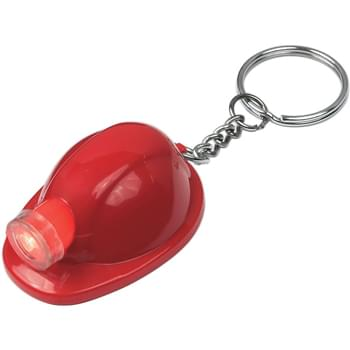 Hard Hat LED Key Chain - Button Cell Batteries Included, Inserted | Squeeze To Turn On Light
