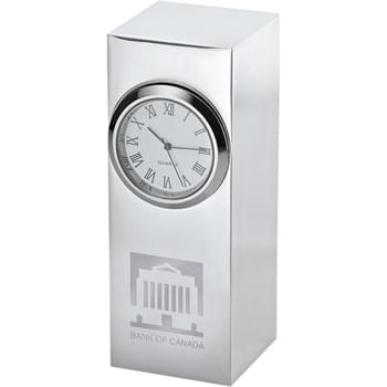 Radiance Silver Plated Column Clock - Stylish silver-plated analog clock with Roman numerals doubles as a paper weight. Perfect for any desktop.