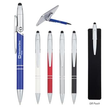 Flex Stylus Pen And Phone Stand - Twist Action   | Metal Pen   | Stylus On Top | Pen Cap Bends Over To Create Phone Stand