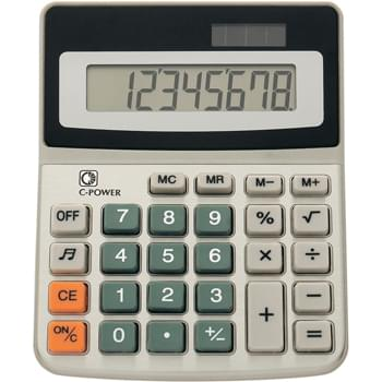 Dual Power Calculator - 8 Digit Display | Turn Sound On Or Off | Battery Included | Solar Power