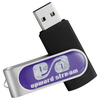 Domeable Rotate Flash Drive 1GB - Flash drive folds into a protective aluminum cover. RoHS compliant. Domed decorating method provides logo pop. Plug and play technology on Windows XP or above and Mac OSX or higher.