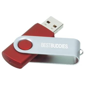 Rotate Flash Drive 16GB - Flash drive folds into a protective aluminum cover. RoHS compliant. Plug and play technology on Windows XP or above and Mac OSX or higher.
