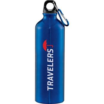 Santa Fe Aluminum Bottle 26oz - Screw-on lid. Food grade internal liner. Includes matching carabiner.  BPA free. 26 oz.