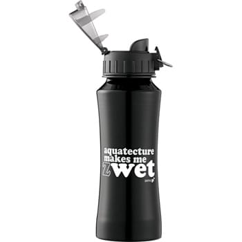 Nitro Aluminum Bottle 18oz - Plastic, flip-top lid. Large opening for cleaning and filling. Food-grade liner. BPA free. 18oz.