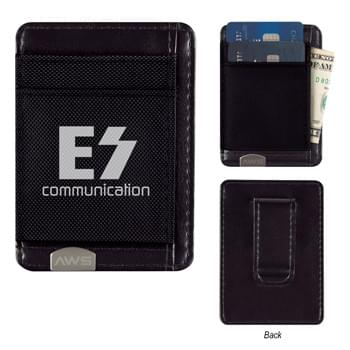 Executive RFID Money Clip Card Holder - Made Of 840D Polyester With 210D Polyester Lining   |  3 Front Pockets  |  Slim Profile, Leather Look | Place Your Credit Cards In Holder To Prevent Cyber Hackers From Stealing Your Identity   | Prevents Data Transfer Between The Card Holder And Reader   | Works With Any Contactless Chip Card. Cards That Are Swiped Do Not Send RFID Signals And Will Not Be Protected By An RFID Blocker