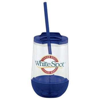 Hot & Cold Clarity Drop Tumbler 15oz - Part of our Clarity trend collection. Some like it hot & some like it cold with this lid you can have both. Double-wall acrylic construction with thumb-slide, push-on lid. Polypropylene straw with stopper for cold beverages. BPA Free.  Exclusive. 15oz.