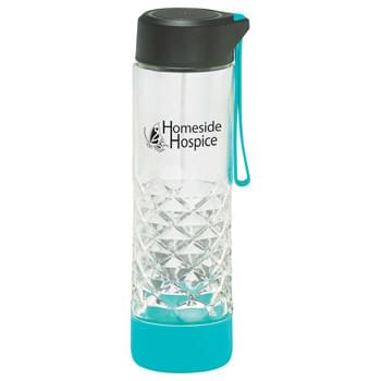 Geometric Glass Bottle 20oz - Single-wall, clear glass bottle. Design features an intricate geometric cut. Screw-on lid with silicone strap, color matching silicone base. Non-slip. Not for hot beverage. BPA Free.  Exclusive. 20oz.
