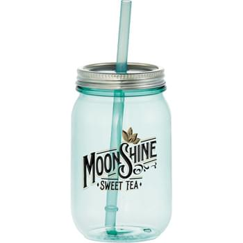 Vintage Mason Jar 25oz - Retro vintage mason jar with sea glass color and stainless lid.  Straw with stopper.   Eastman titan material.  Shatter, stain and odor resistant.  BPA free. 25oz.