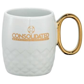 Juno Ceramic Mug 13oz - Part of our Bold Geometry trend collection this style is defined by angles that create a great tactile and visual experience. Fancy golden plated handle.  exclusive. 13oz. Disclaimer:  No color match for the handle.