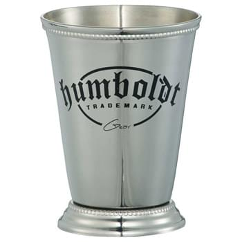 Julep Cup 12oz - Style inspired by the popular Mint Julep cup. Solid stainless construction. Included is a Bullware recipe card that also features the history of the cocktail - for which this cup is known. 12oz.