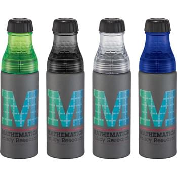 Axim Aluminum Bottle 25oz - CLOSEOUT! Please call to confirm inventory available prior to placing your order!<br />Part of our Bold Geometry trend collection this style is defined by angles that create a great tactile and visual experience.  Screw-on dual purpose lid with small and large openings for easy cleaning and ice.  BPA free.  24oz.
