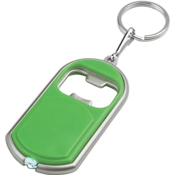 Bottle Opener Key Chain With LED Light - Slide Switch To Turn On/Off | Split Ring Attachment