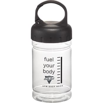 SimplyFit Snack Bottle Mini - SimplyFit to help you get started and maintain an active lifestyle - the best way - simply. Product which helps you make better choices, is easy to use every-day, and is affordable! This clear plastic bottle is FDA approved, has a 1.5 cup capacity, and has a build-in carabineer on the handle. Keep your healthy snacks close at-hand where ever you go. Available for Sure Ship.