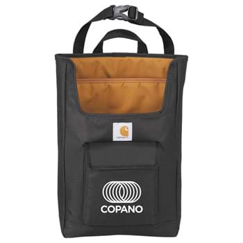 "Carhartt Backseat Car Organizer - Adjustable strap for securing to the back of a car seat. Padded lined pocket for 15"" Laptop Computer or Tablet. Gusseted front Velcro pocket. Large open main storage compartment for quick access from the front of the car."