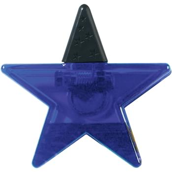 Star Shape Clip - Top Rubber Grip | Spring-Loaded Hinge | Magnet On Back Side | Large Imprint Area
