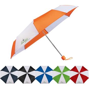 "42"" Folding Umbrella - Manual opening. Polyester canopy with matching color handle, top, and case. Three-section folding metal shaft. Plastic handle with matching wrist strap. Folds to only 9.5"" long. Safer and easier push button to release the canopy when closing.  Available for one-day turn with Sureship."