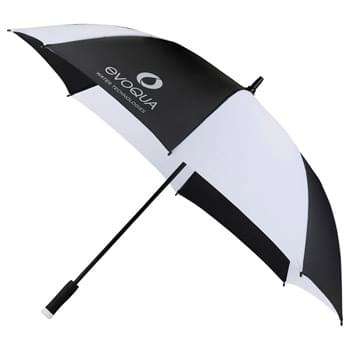 "58"" Ultra Value Auto Open Golf Umbrella - Automatic opening. Large canopy. Extra strong 14mm, black, powder coated metal shaft with fiberglass ribs. Comfortable 5"" foam handle with color coordinated tip. Folds to 36 7/8in."