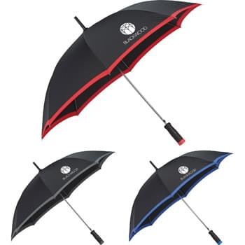 "46"" Auto Open, Fashion Umbrella - Automatic opening. Pongee canopy with 1"" color trim. Textured EVA foam handle. 3"" Rubberized safety top. Available for one-day turn with Sureship®."