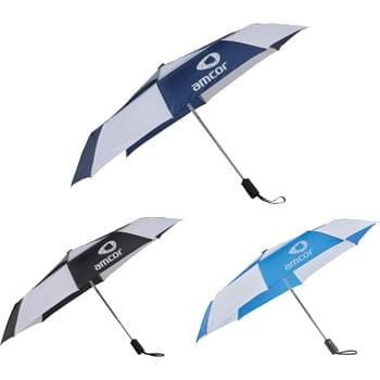 "42"" Vented, Auto OpenClose Folding Umbrella - CLOSEOUT! Please call to confirm inventory available prior to placing your order!<br />Automatic opening and closing functions. Vented polyester canopy. The striped pattern on alternating upper panels gives a sporty look. Color matching carry sleeve. Rubberized handle. Folds to 11"" long. Available for one-day turn with Sureship&reg;."