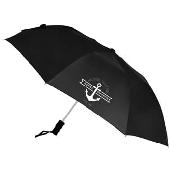 "42"" Auto Open Windproof Umbrella - Automatic opening and windproof. Nylon canopy with matching color case. Two-section folding metal shaft. Ergonomic matte black plastic handle with wrist strap. Folds to 15"" long. Available for one-day turn with Sureship®. Retail-Style Packaging Available"