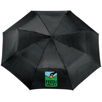 "41"" Folding Umbrella - Manual opening. Polyester canopy with matching color case. Three-section folding metal shaft. Ergonomic matte black plastic handle with wrist strap. Folds to only 9"" long. Available for one-day turn with Sureship®."