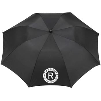 "42"" Auto Open Folding Umbrella - Automatic opening. Pongee canopy with matching color case. Two-section folding metal shaft. Ergonomic matte black plastic handle with wrist strap. Folds to 15"" long. Available for one-day turn with Sureship®."