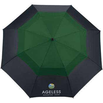 "42"" Color Pop Vented Windproof Umbrella - Automatic opening. 42"" vented Pongee canopy with color pop on upper canopy. Black ergonomic handle with wrist strap and complementing color pop button. Folds compactly to 17 inches.  Includes storage sleeve for added protection when not in use. Available for one-day turn with Sureship®."