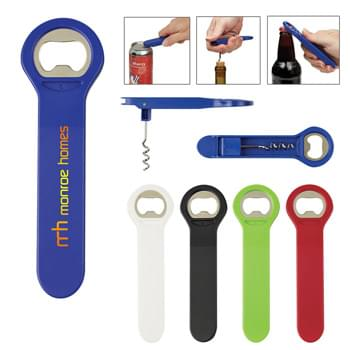 3-In-1 Drink Opener - Metal Bottle Opener   | Can Opener   | Cork Screw That Folds Away For Safety