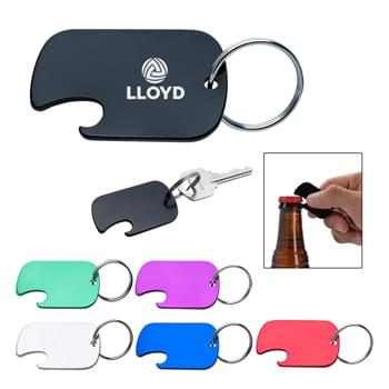 Dog Tag Bottle Opener Key Ring - Split Ring Attachment