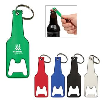 Bottle Shaped Opener Key Tag - Split Ring Attachment