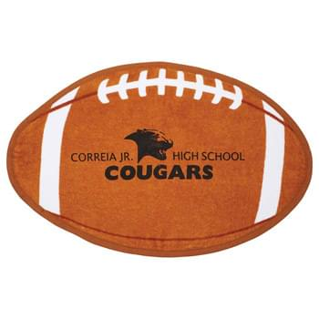 Football Shaped Stock Design Sport Towel - 2.0lb./doz., 100% cotton velour. Football shaped sport towel.