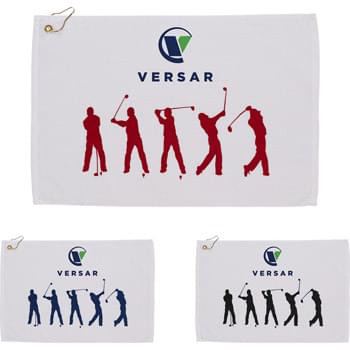 "Silhouette in Action Golf Towel - This towel is 25"" x 16"" and weights 2.5 lb./doz. Terry velour stock design highlighting golfing. Dobby hemmed midweight golf towel. Includes corner grommet and hook."