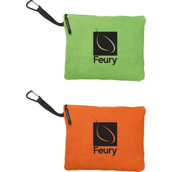 "Large 30"" x 78"" Microfiber Sport Quillow - Highly absorbent. Lightweight and compact. Generously oversized microfiber towel. When open: 30? x 78?; When folded: 13.5? x 11.5?. Attached microfiber pouch fits the folded towel. Standard decorating on the case."