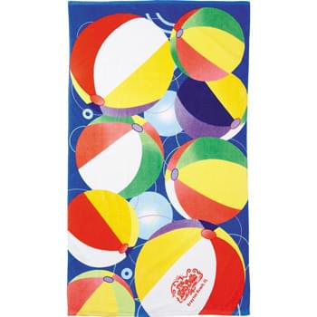 14 lb./doz. Beach Ball Beach Towel - 14.0lb./doz.,ultra soft velour stock design beach towel.