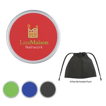 Two-Tone Coaster - Black Felt Backing Is Skid Resistant And Easy On All Surfaces | Available Individually Or In 4-Pack Sets
