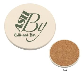 Round Absorbent Coaster - Made Of Dolomite Material | Cork Backing Is Skid Resistant And Easy On All Surfaces