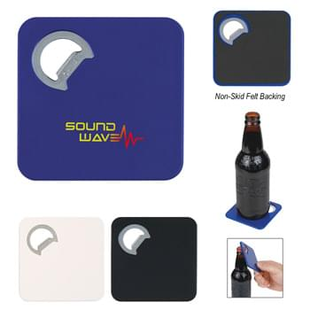 Square Coaster With Bottle Opener - Skid Resistant Backing Is Easy On All Surfaces | Metal Bottle Opener | Flat Shape Perfect For Pockets
