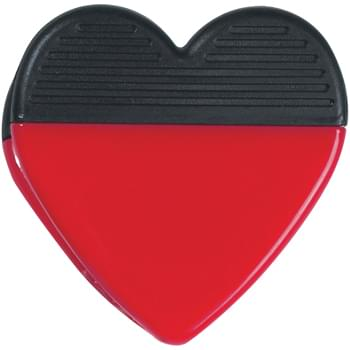 Heart Shape Clip - Top Rubber Grip | Spring-Loaded Hinge | Magnet On Back Side | Large Imprint Area