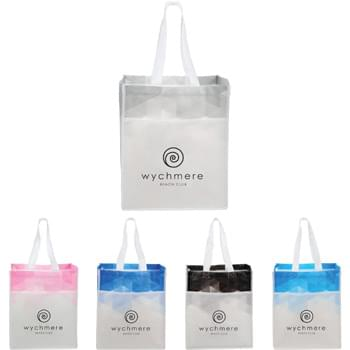 "Gradient Laminated Non-Woven Tote - Modern, sleek and on trend. This gradient print tote offers an open main compartment. Large front slash pocket. Wedding 10"" drop height handles."