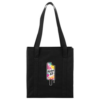 "Little Grocery Collapsible Non-Woven Tote - 80g non-woven material with supportive board re-enforced on all sides. Sewn in bottom board. This tote can completely collapse flat for easy storage. 12"" drop handles."