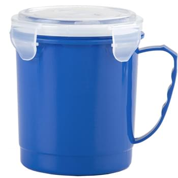 24 Oz. Food Container Mug - 4 Side Clips For A Tight Seal   | Open Top Snap To Ventilate   | Microwave Safe   | Meets FDA Requirements   | BPA Free   | Hand Wash Recommended | Arriving Mid May